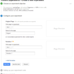 configure experiment google content experiment