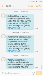 premiova SMS-nizky kredit